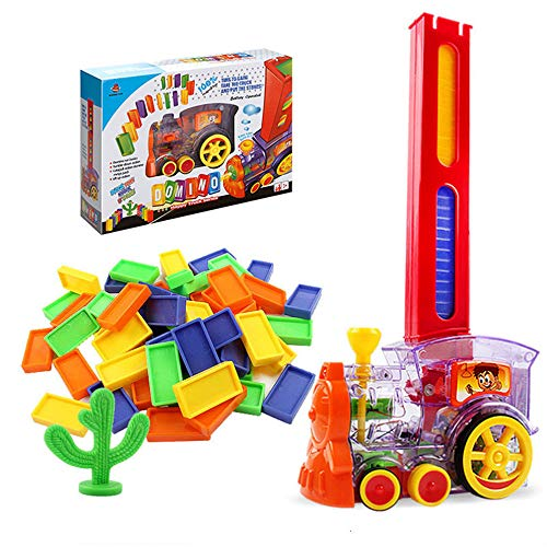 Kids Domino Train, 80Pcs Domino Train Blocks Set with Lights, Building and Stacking Toy for 3 4 5 6 7 Years Old Boys, Girls, Creative Christmas Birthday Gifts for Kids