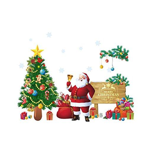 WINOMO Frohe Weihnachten Wandtattoos Wandbilder abnehmbare Aufkleber Wanddeko Nikolaus Weihnachtsbaum Weihnachtsdeko