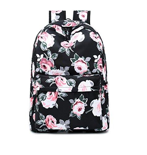 Acmebon Wasserdichter Frauen Rucksack Tasche Blumenmuster Schule Rucksack für Mädchen Schwarz