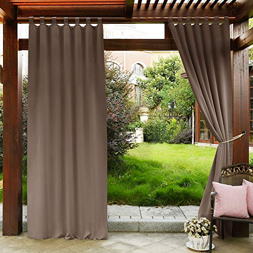 PONY DANCE Patio Curtains Outdoor - Waterproof Garden Tab Top Water...