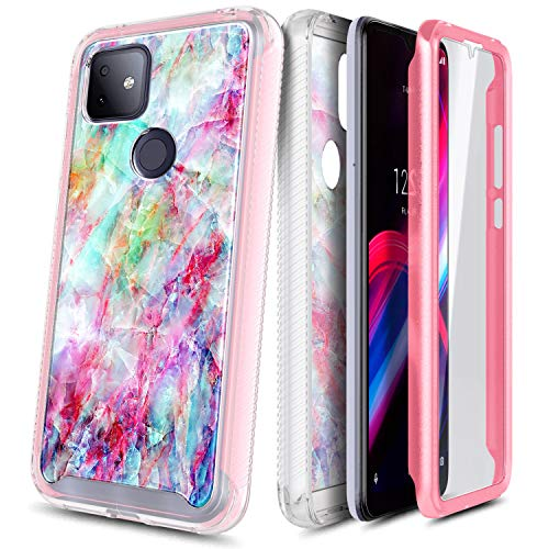 NZND Case for T-Mobile REVVL 4 Plus with Built-in Screen Protector, Full-Body Protective Shockproof Rugged Bumper Cover, Impact Resist Durable Phone Case -Marble Design Fantasy