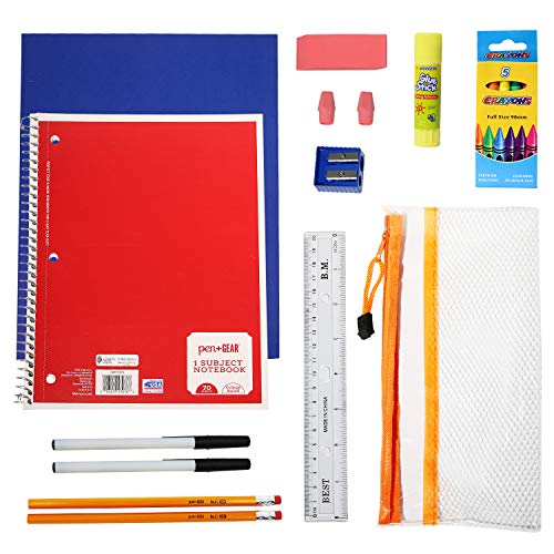 18 Piece Pack Wholesale School Supply Kits for Students, Teachers, Back to School Drives - Case of 24 Bulk School Supplies Value Bundle Pack