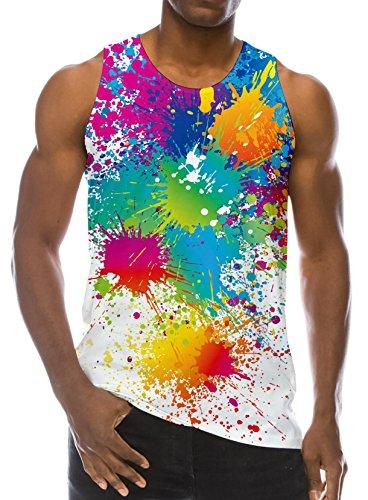 Loveternal Loveternal Mens Buntes Farben Weste T-Shirt Gedrucktes Trägershirt Workout Muskel Sleeveless T-Shirts XXL