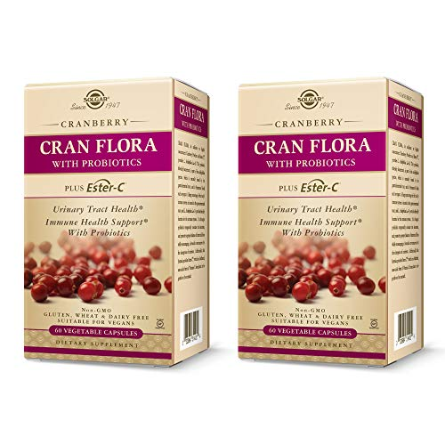 Solgar Cran Flora with Probiotics Plus Ester-C, 60 Vegetable Capsules - 2 Pack - Supports Urinary Tract, Immune & Intestinal Health - Cranberry Powder for Digestion - Non GMO - 30 Servings Per Pack