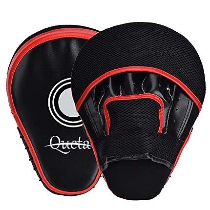 Queta Paos de Boxeo para Kick Boxing Muay Thai MMA-Almohadillas Entrenamiento-Manoplas de Boxeo 2pcs (Rojo)