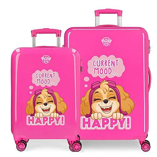 Paw Patrol Patrulla Canina Playful Juego de Maletas Rosa 55/68 cms Rígida ABS Cierre combinación 104L 4 Ruedas Dobles Equipaje de Mano