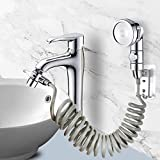 set soffione doccia per lavandino, doccetta del bagno, tubo telescopico, perfetto per lavare i capelli o pulire il lavandino (rubinetto non incluso) (argento)