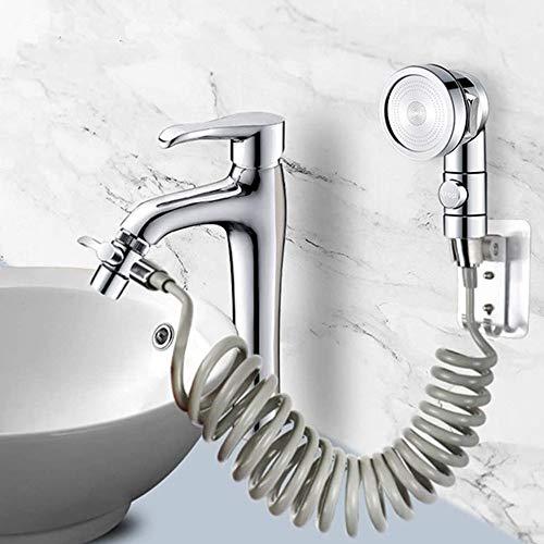 Duschkopf Set Extern für Waschbecken, Duschkopf mit drei Modi, 2 m Teleskoprohr, perfekt zum Waschen der Haare oder zum Reinigen des Waschbeckens (Wasserhahn nicht im Lieferumfang enthalten)