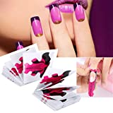 Nail Forms, Nail Extension Form Stickers 100pcs Nail Art Tips Guide Stickers para acrílico y UV Gel Nail Extension Nail Polish Styling Tools Curl Forms