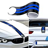 KeeForthewin Carbon Fiber Car Hood + trunk Lid Stripes Sticker Sport Racing Style Engine Cover Bonnet M Performance Vinyl Decal for BMW X M 3 4 5 6 E46 60 70 90 F30 etc(Carbon Fiber + Reflective Blue)