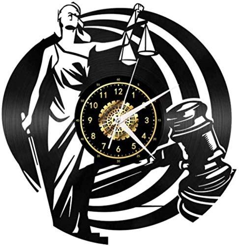 GVSPMOND Reloj de Pared Law Justice Classic CD Reloj de Cuarzo Diseño de Arte de Pared Sala de Estar Cocina Decoración del hogar 12 Pulgadas