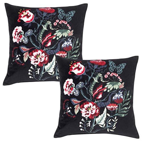 Lidoma Juego de 2 fundas de cojín de 50 x 50 cm, color negro y rojo, con estampado de flores, cojín decorativo, cojín decorativo para sofá, de IKEA Saralena, sostenible
