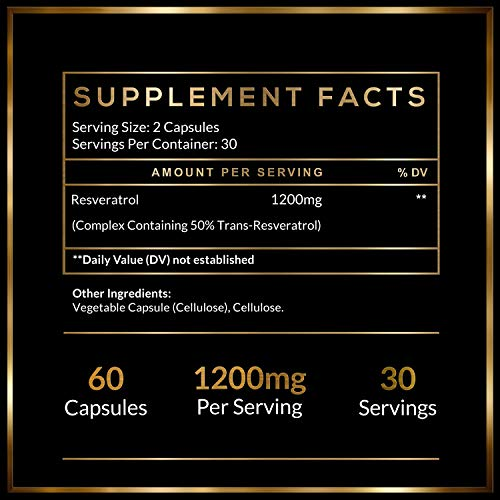 519zBya2W9L - Resveratrol Supplement with Trans Resveratrol HELIX PRIME 1200mg Per Serving in 60 Capsules Vegetarian Antioxidant Promotes Anti Aging
