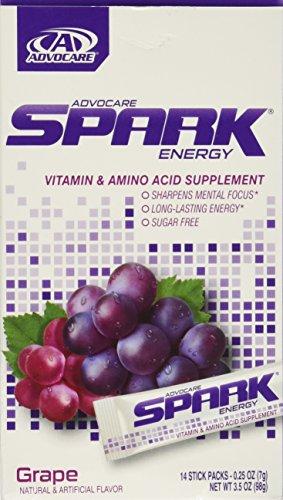 Advocare Spark Energy Drink 14 single serve pouches - Grape - 3.5oz