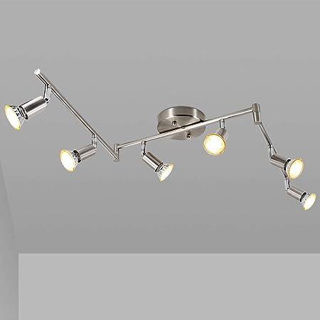 LED 6 Light Track Light Kit, Matte Nickel 6 Way Ceiling Track Lighting, CRI≥90, Flexibly Rotatable Light Head, Ceiling Spot Light for Exhibition/Hallway, Included 6X 5W LED GU10 Bulbs(2700K, 510LM)