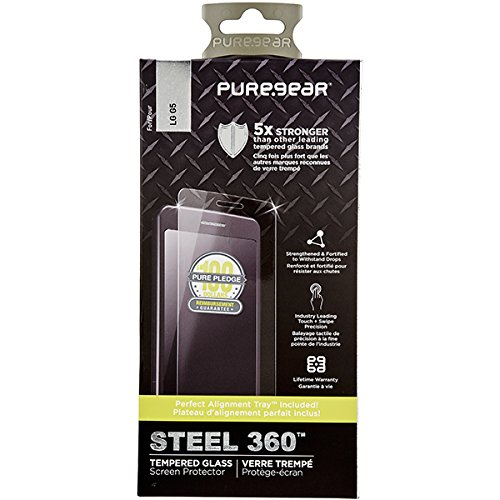 PureGear LG G5 Steel 360 Tempered Glass Screen Protector w/Easy Install Alignment Tray + Pure Pledge Program ($100 Reimbursement Toward The Repair of Broken Screen Guarantee)