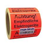 Warnetiketten auf Rolle - Achtung Empfindliche Elektrogeräte - 500 Stück je Rolle - 100 x 50 mm - Leuchtrot Haftpapier stark haftend - Versandaufkleber