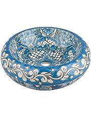Lorena - Mexicaanse ronde opzetwastafel | 40 cm keramiek Talavera wastafel uit Mexico | Kleurrijke decoratieve motieven | Ideaal badkamer met houtlook tegels, cementtegels, rustieke onderkast