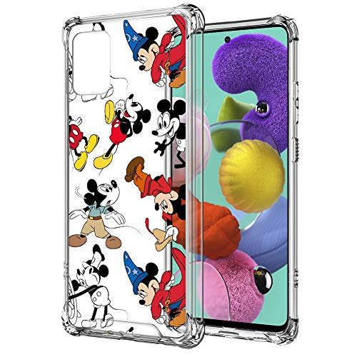 Disney Collection Samsung Galaxy A51 Case (Not Fit A51 5G Version) Mickey Mouse Clear Design Case with 4 Corners Shockproof Scratch-Resistant PC+TPU Environmentally Blended Material Protection Cover