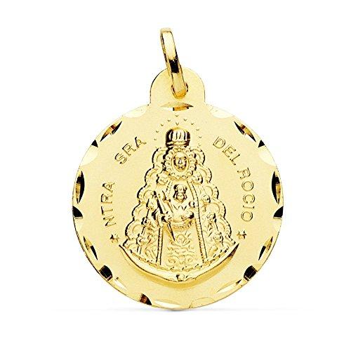 Medalla Oro 18K Virgen Rocío 24mm. Cerco Tallado [Ab4813Gr] - Personalizable - Grabación Incluida En El Precio