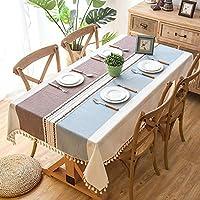 Wondder Mantel Cordón de la Borla del Paño de Tabla del Lino del Algodón para la Cubierta de Tabla de Cena del Banquete del Partido del Mantel de la Tabla (140x180cm(55x70.8inch), Violeta Claro)