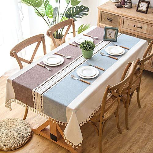 Wondder Mantel Cordón de la Borla del Paño de Tabla del Lino del Algodón para la Cubierta de Tabla de Cena del Banquete del Partido del Mantel de la Tabla (140x140cm(55x55inch), Violeta Claro)