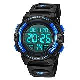 子供腕時計 男の子 デジタル腕時計 ボーイズスポーツウォッチ アウトドア多機能50m防水 アラート 日付曜日表示 デュアルタイム LED アナログ表示(ブルー)