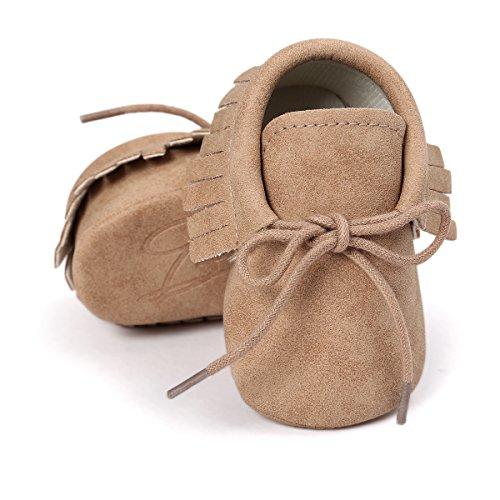 RVROVIC Baby Boys Girls Moccasins Soft Sole Tassels Prewalker Anti-Slip Shoes (S:0~6 Months, PU Khaki)