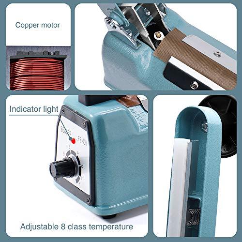 Metronic 16inch/400mm Manual Impulse Manual Hand Sealer Heat Sealing Machine Poly Tubing Plastic Bag with 2 Replacement Kit Blue