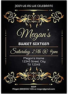 Luxury Golden Floral Sweet Sixteen 16 Birthday Party Invitations