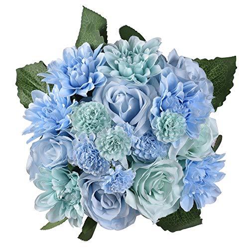 Famibay Künstliche Rosenblüten 2 Blumensträuße 18 Rosenköpfe Gefälschte Rosen für Haupthochzeits Garten Wand Dekoration(Blau) …