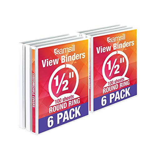 Samsill Economy 3 Ring Binder Organizer, .5 Inch Round Ring Binder, Customizable Clear View Cover, White Bulk Binder 6 Pack (I08517)