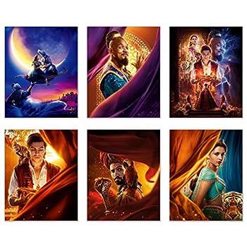 Aladdin 2019 Poster Movie Prints - Set of 6  8 inches x 10 inches  Photos - Will Smith - Naomi Scott - MENA Massoud