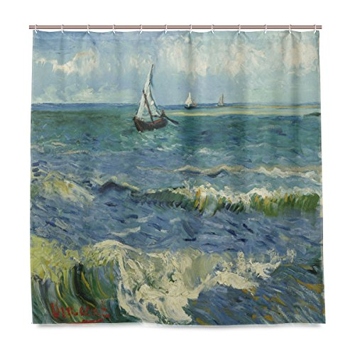 ISAOA Van Gogh Duschvorhang, Kunstgemälde, wasserdicht, schimmelresistent, antibakteriell, personalisiertes Design, Polyester, 180 x 180 cm, mit 12 Haken