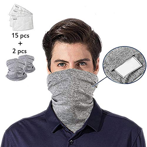 Patty Both Scarf Bandanas Neck Gaiter with Safety Carbon Filters,Multi-purpose Face Cover For Men women Sports/Outdoors 17pcs (Grey)