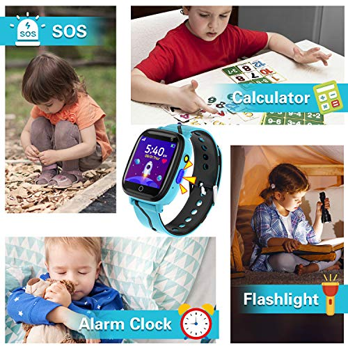 Smartwatch Kinder - Smartwatches Telefon mit Musik SOS Spiele Kamera Stoppuhr Wecker Rekorder Rechner Touchscreen Taschenlampe, Uhr Anruf Kinder Geschenke Geburtstag für Jungen und Mädchen (Blau)