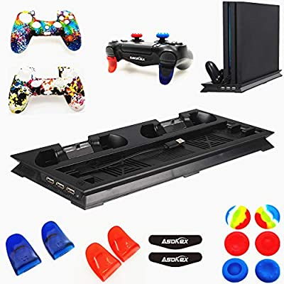 Cooling Fan Vertical Stand for Ps4 Pro(1pc Cool Fan,2pcs Silicone Cover,4pcs L2R2 Trigger Extender,6pcs Thumb Grips,4pcs LED Light Bar Decal) Accessories Kit