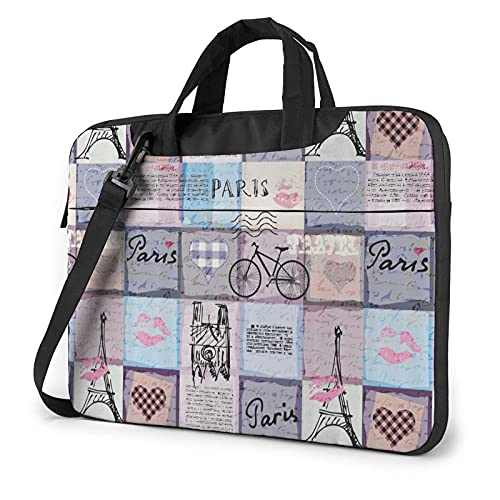 LAOLUCKY Laptop Bag Briefcase Shoulder Bag Laptop Bag Satchel Tablet Bussiness Carrying Handbag Laptop Sleeve for Women and Men - Retro Bike Paris Eiffel Tower European Travel