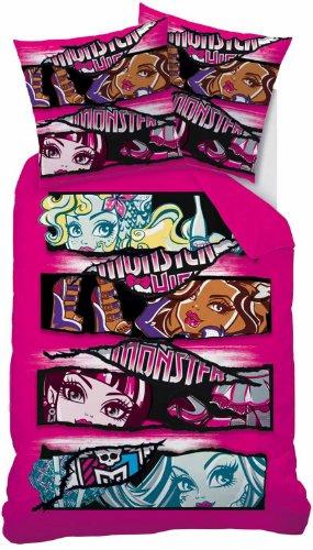 CTI - Funda edredón para monster high linon rosa tamaño 135x200 cm ( 80x80 cm)