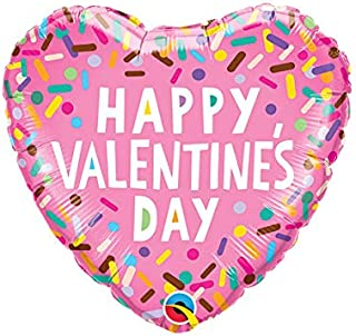 Qualatex Valentines Sprinkle Heart Foil Balloon, 18-inch Size