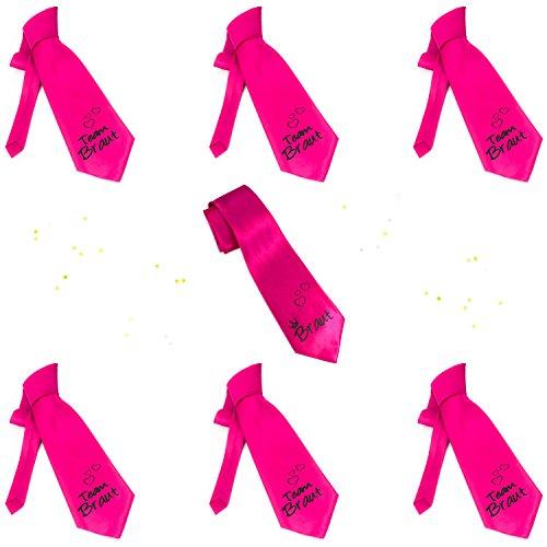 Oblique Unique® Braut + Team Braut Krawatten Set für Junggesellinnenabschied JGA Hochzeit in Pink