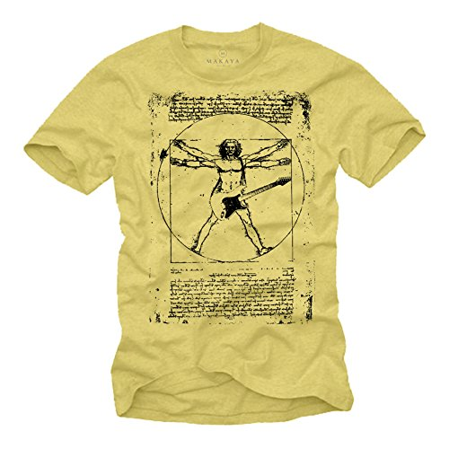 Camiseta con Guitarra Electrica DA Vinci Rock Hombre Amarilla S