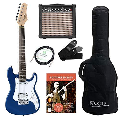 Rocktile Sphere Junior E-Gitarre 3/4 Blau SET inkl. Verstärker, Kabel, Gurt und Schule inkl. CD/DVD