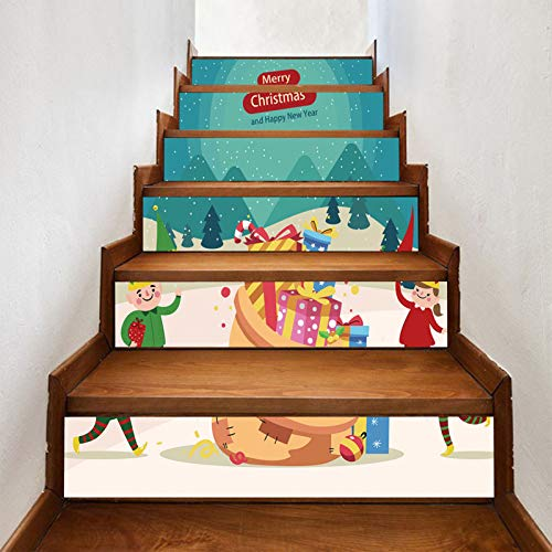 Ratio Christmas New Christmas Elf Staircase Stickers, Non-marking, Wear-resistant and Waterproof Self-adhesive Staircase Stickers Holiday Dress (7X40in) 18X100cm×6pcs