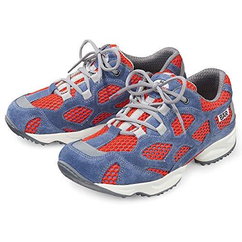 Bär Laufschuh Unisex | High Performance 2.5 | Damen und Herren | 100% Zehenfreiheit | Sportschuh | Touringschuh | Leder und Textil | Dämpfung, Blau-Rot, 39 EU (Herstellergröße: 6.0)