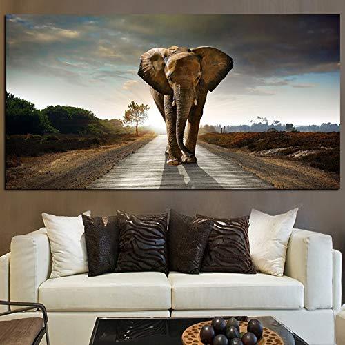 Afrika Elefant Wildtier Landschaft Ölgemälde auf Leinwand Kunst Poster und Drucke Wandbild für Wohnzimmer Cuadros Dekor 35x70 CM (Kein Rahmen)