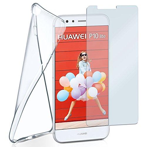 MoEx Silikon-Hülle für Huawei P10 Lite | + Panzerglas Set [360 Grad] Glas Schutz-Folie mit Back-Cover Transparent Handy-Hülle Huawei P10 Lite Hülle Slim Schutzhülle Panzerfolie
