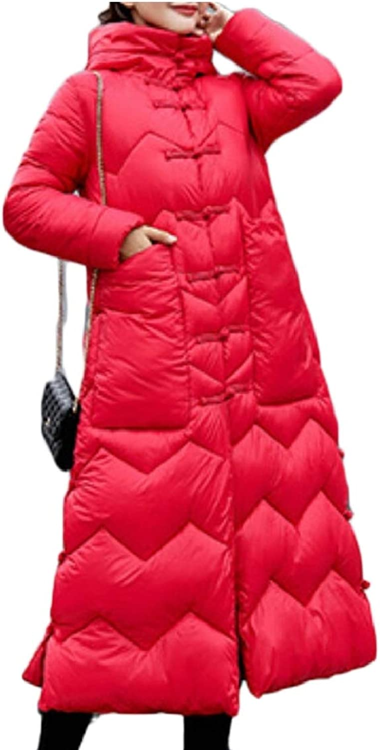 Women's Winter Coat Long Thick Hooded Button Down Jacket