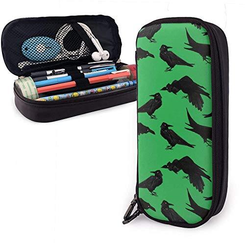 Schreibwaren-Tasche für Schüler, modische Stifte-Tasche aus PU-Leder, stilvolle Krähen, Raben, Grün, Schreibtisch-Organizer für Stifte, Bleistifte, Textmarker