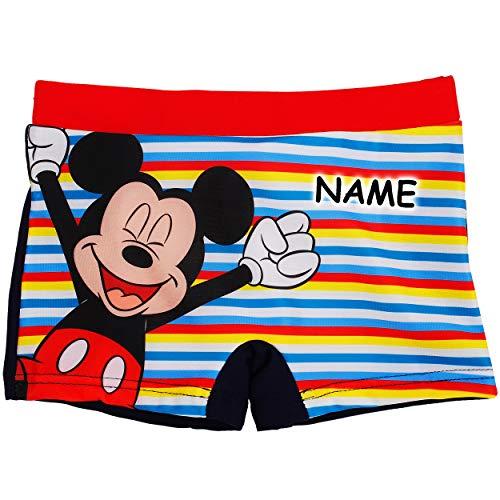 alles-meine.de GmbH Badehose / Badeshorts - Disney - Mickey Mouse - incl. Name - Größe 4 bis 5 Jahre - Gr. 110 bis 116 - für Jungen Mädchen Kinder Badepants - Boxershorts Shorts ..